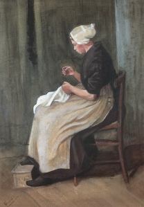 Woman Doing Needlework